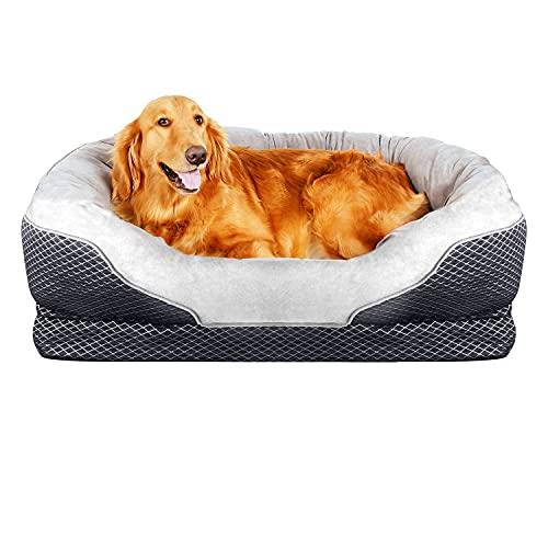 Pet Deluxe Orthopädisches Hundebett, mit gepolsterter Rand Kissen und Nonslip unten, gerillt Orthopädische Schaumstoff Pet Bett mit extra Bequeme Baumwolle, Large - 38'' x 30''