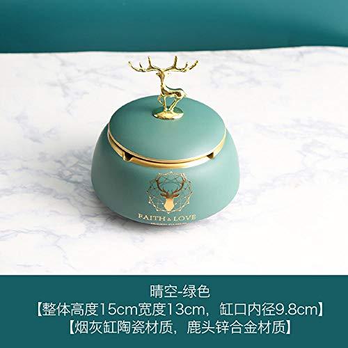 posacenere per posacenere Posacenere in ceramica con coperchio personalità creativa per ufficio decorazione posacenere grande posacenere antivento-Clear Sky Posacenere-Verde