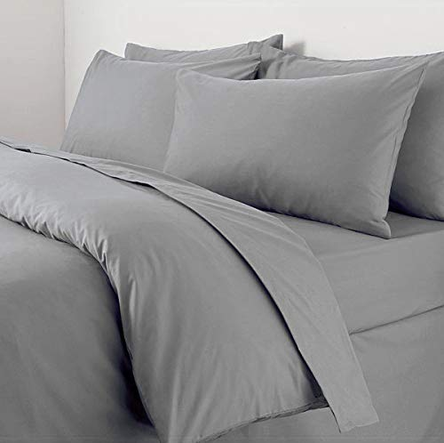 Sapphire Collection 100% Egyptian Cotton 300 Thread Count Duvet Cover With Pillow Case Bedding Set (Double, Grey)