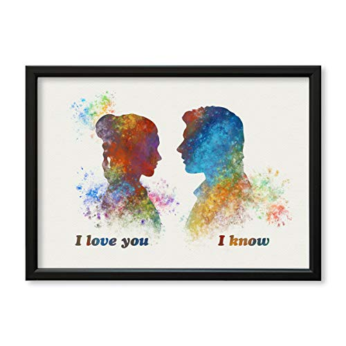 Star Wars Han Solo and Leia I love you I know 9 x 12 3/8 inches Framed Poster