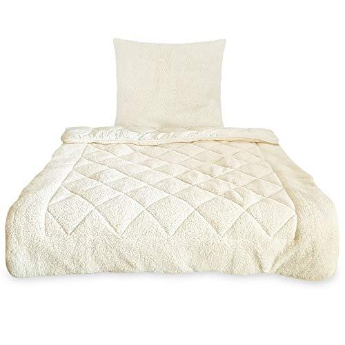 2 teiliges Winter Bettenset Lammflor-Optik Sherpa - 135x200 cm Kissen 80x80 cm Bettdeckenset Wende-Bettenset wollweiß warm kuschelig