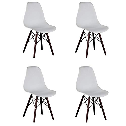 Naturelifestore 4er Set Esszimmerstühle/Lounge-Stühle im Modernen Design, Sitz aus Polypropylen und Walnussholz Beine (Weiß)