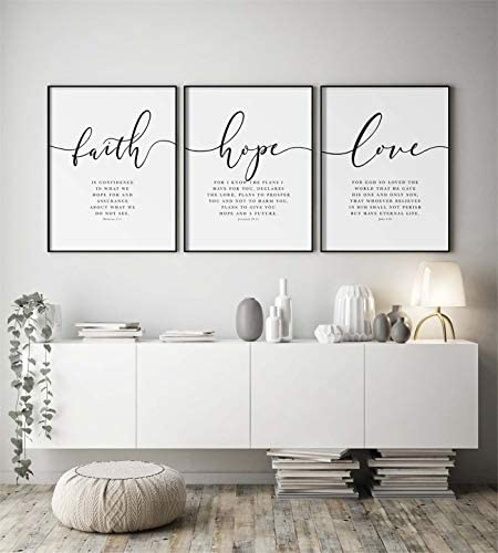 NATVVA Scripture Quote Hebrews 11 Poster and Prints Faith Hope Love Bible Verse Wall Art Canvas product image
