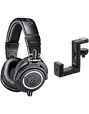 audio-technica プロフェッショナルモニターヘッドホン ATH-M50x ブラック スタジオレコーディング/ミキシング/DJ/トラックメイキング & ヘッドホンハンガー AT-HPH300