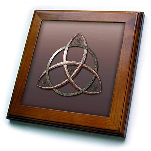 3dRose A Stone Textured Triquetra Celtic Trinity Knot Symbol. - Framed Tiles (ft_333408_1)