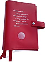 Red DELUXE Triple NA Book Cover for the Basic Text (6th Ed), It Works, How and Why and Living Clean with Serenity Prayer and Medallion Holder.