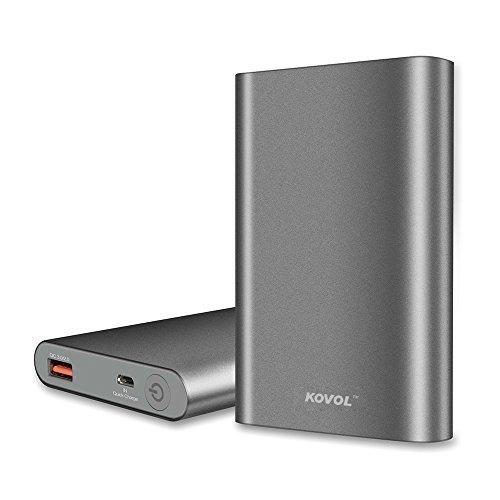 Banco de Energía Portátil con Quick Charge 3.0, kovol 10000mAh Delgado Cargador Batería Externa para Samsung, iPhone, iPad y Más
