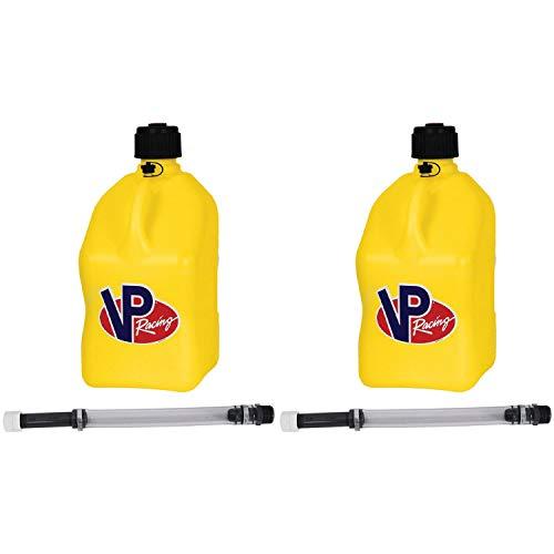 VP Racing Fuels Motorsport 5 Gallon Square Plastic Utility Jug Yellow & 14 Inch Hose (2 Pack)