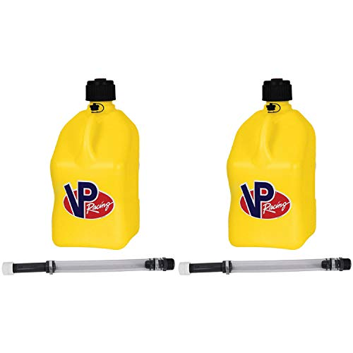 VP Racing Fuels Motorsport 5 Gallon Square Plastic Utility Jug Yellow & 14 Inch Hose (2 Pack)