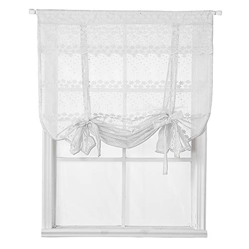 HomeyHo Rod Pocket Sheer Lace Tie Up Curtains for Small Window Jacquard Curtain Panels with Valance Floral Balloon Curtain for Kitchen Window 31 x 47 Inch White