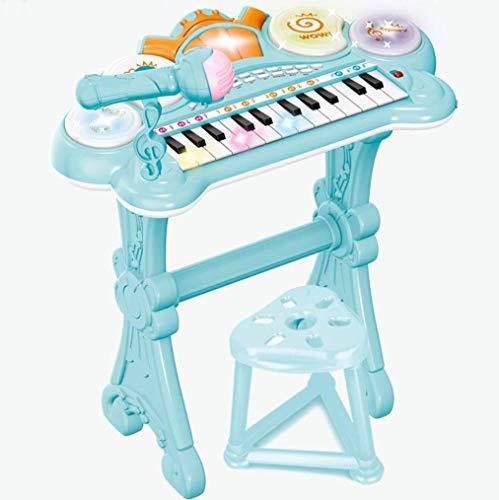 【LR.store】 電子ピアノ ピアノ おもちゃ おもちゃのピアノ 子供用 キッズ (光る ミニピアノ マイク付き 電子 キーボード 録音 多機能 知育玩具) 【誕生日 こどもの日 クリスマス プレゼント】 (ブルー)