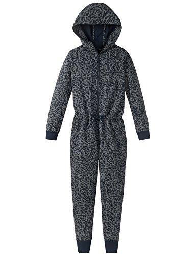 Schiesser Mädchen Mix & Relax Jumpsuit Einteiliger Schlafanzug, Blau (Nachtblau 804), 164 (Herstellergröße: M)