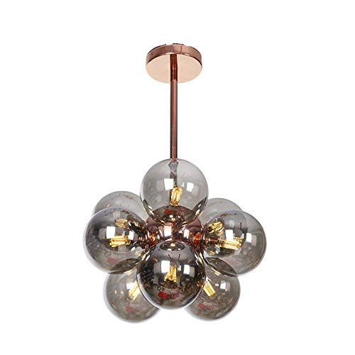 9-Lights Glass Chandelier Pendant, Rose Gold with Smoky Gray...