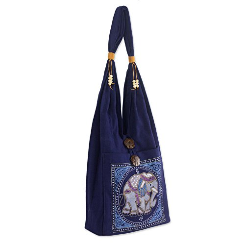 NOVICA Dark Blue Handmade Embroidered Shoulder Bag, Lucky Elephant'