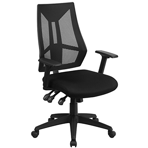 Flash Furniture High Back Black Mesh Multifunction Swivel Ergonomic Task Office Chair with Adjustable Arms, BIFMA Certified