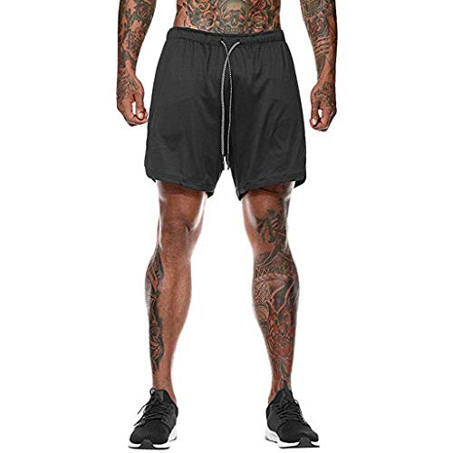 JIANYE Pantalón Corto para Hombre,Pantalones Cortos Deportivos para Correr 2 en 1 para Hombres Secado rápido Transpirable con Forro de Bolsillo Incorporado Negro M