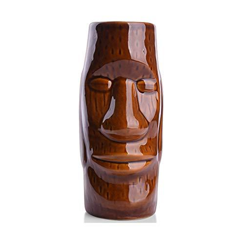 Weinglas Einfachheit Muster Cocktailglas Keramik 500ml Wasser Becher Saft Becher Braun 6.2x17cm MUMUJIN