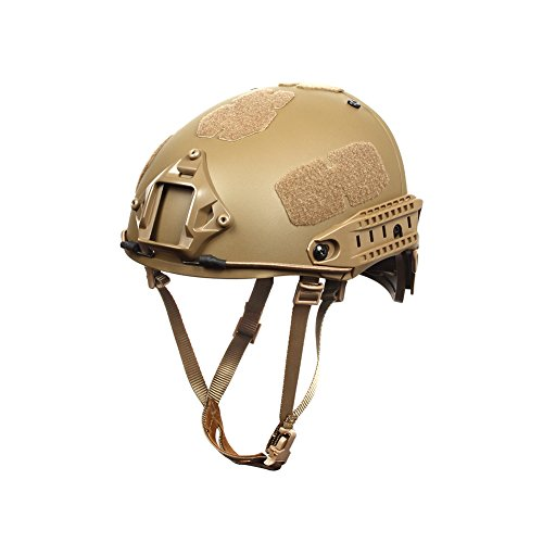Outry Tactical Fast Helmet  Adjustable ABS Helmet with Side Rails and NVG Mount  Fast Ballistic Helmet for Airsoft Paintball Hunting Shooting Outdoor Sports (Tan)