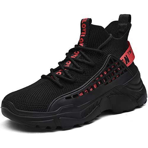 XIDISO Hombre Zapatillas Moda High-Top Sneaker Casuales con Cordones Correr Zapatos Caminar al Aire Libre Entrenadores