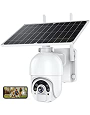 MPW Solar Security Cameras Outdoor, 5dBi Wireless Antenna, WiFi 360° Home PTZ Camera,1080P Color Night Vision with 14400mAh Battery, 2-Way Audio, PIR and Radar Dual Detection, IP66, SD/Cloud Storage