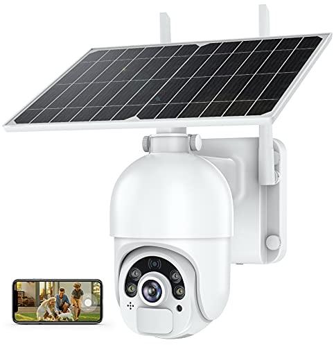 MPW Überwachungskamera Aussen mit Solarpanel, 14400mAh wlan PTZ kamera outdoor,1080P kamera überwachung aussen akku, 5DB wireless antenna, PIR und Radar Erkennung, Nachtsicht, IP66 wasserdichte