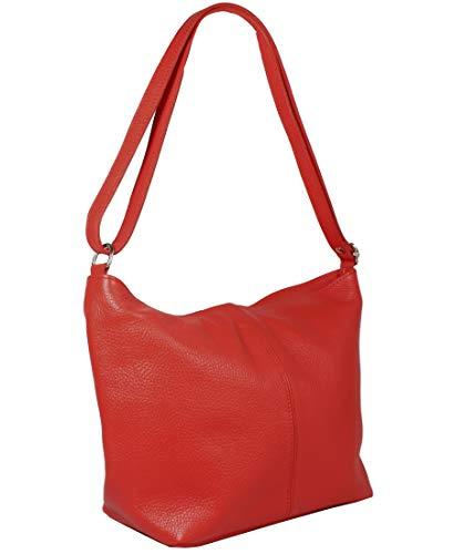 Freyday Echtleder Schultertasche in vielen Farben Henkeltasche Umhängetasche Made in Italy (Rot)