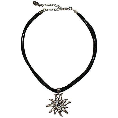 Trachtenkette für Dirndl oder Trachtenkleid großes Edelweiß mit Swarovski-Elements edle Dirndlkette Trachten-Kette mit Seidenkordel Halskette für Damen hochw. Qualität, Farbe:schwarz