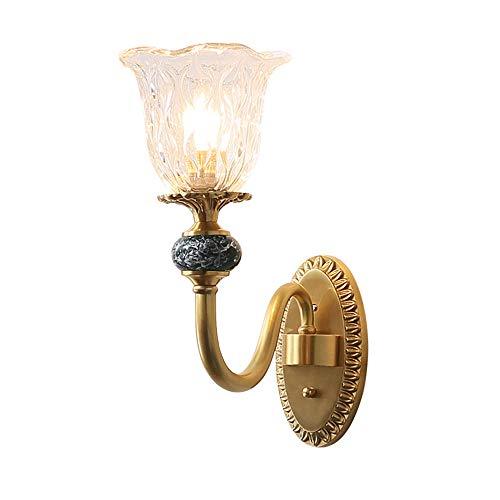 YLSMN Amerikanische kupfer wandleuchte einfache postmoderne europäische licht luxus schlafzimmer nachttischlampe doppelkopf wohnzimmer welle kunst wandleuchte