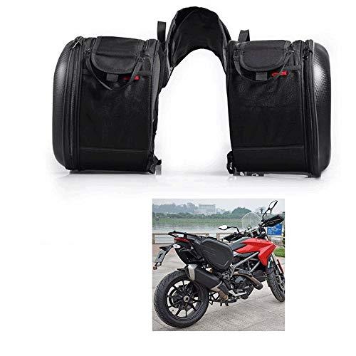 ZZKJTANGYMTT Motorfiets leer, achterzijde, zadeltas, zijzak, koolstofvezel-etui, waterdichte motorhoes, zijzadeltas, motorfietstas, reizen, grote capaciteit
