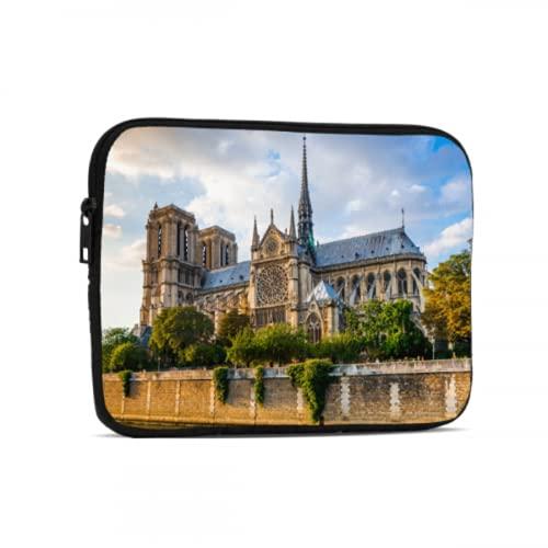 Funda para portátil Hermosa Funda para Tableta Notre Dame de Paris Compatible con iPad 7,9/9,7 Pulgadas Funda Protectora de Neopreno con Cremallera a Prueba de Golpes para Tableta con Cor