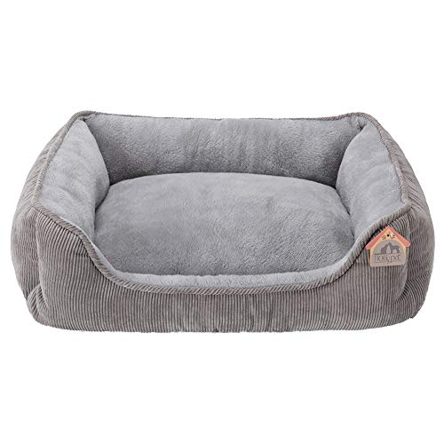 Hollypet Rectangle Plush Dog Cat Bed Self-Warming Pet Bed, Pure Gray