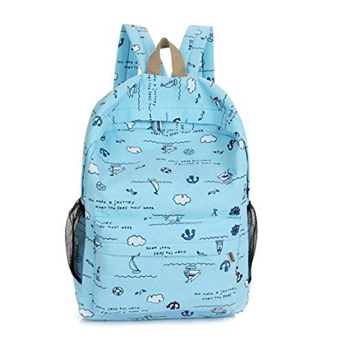 SeniorMar-UK Navy Style Bootsdruck Rucksack Frauen Umhängetasche Large Capacity Ladies Reiserucksack Universal Women Handtasche