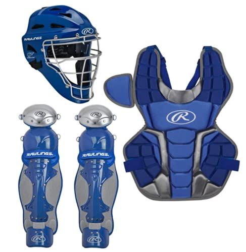 Rawlings Renegade 2.0 Youth NOCSAE Baseball Protective Catcher's Gear Set, Royal and Silver