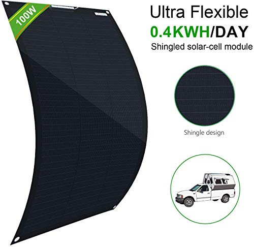 ECO-WORTHY Flexible Solar Panel 100 Watt 12 Volt Waterproof Monocrystalline Solar Panel for RV, Boats, Cabin, Roofs, Uneven Surfaces