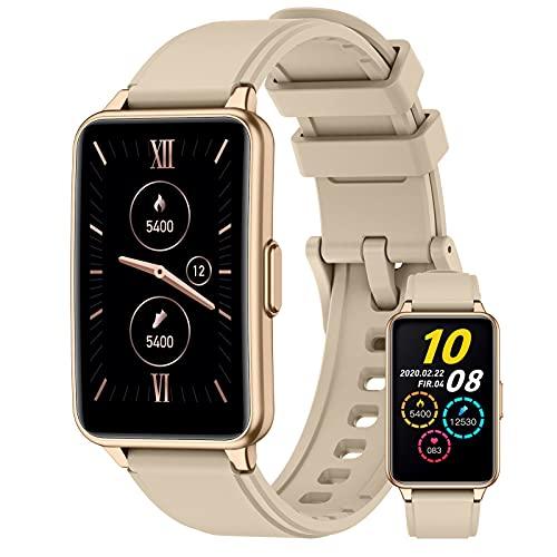 BNMY Smartwatch Reloj Inteligente con Pulsómetro Cronómetros Monitor De Sueño Podómetro Pulsera Actividad Inteligente Impermeable IP67 Smartwatch Hombre Reloj Deportivo para Android iOS,Oro