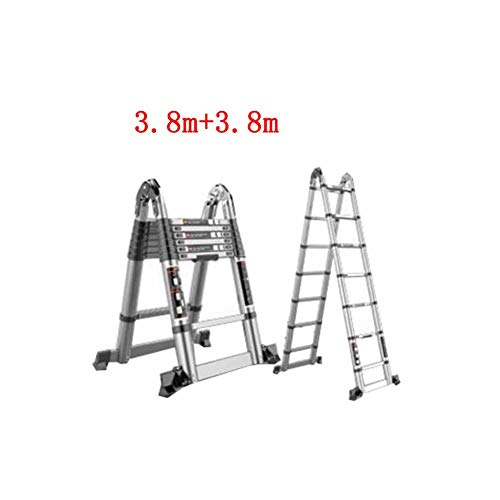 QARYYQ vouwladder multifunctionele huishoudstelescopische verdikkingsladdertechniek Herringbone rechte dubbele ladder aluminiumlegering opstapkruk