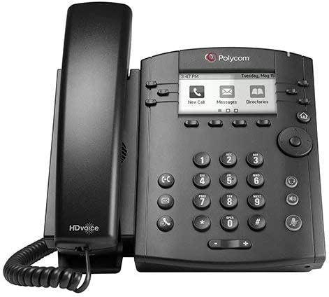 POLYCOM 2200-46135-025 VVX 300 6-line Desktop Phone with HD Voice (PoE without Power Su (Certified Refurbished)