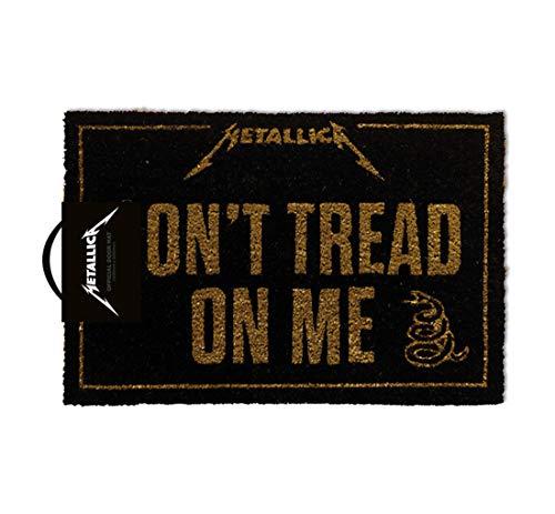 Felpudo oficial de fibra de coco para regalo, metal con texto en inglés «Don't Tread On Me»