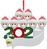 2021 Quarantine Christmas Decoration Gift Personalized PVC Christmas Tree Hanging Ornament Pandemic -Social Party Distancing Santa Claus with Mask Writable Figurine Ornaments (7 person)