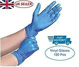 K-MART - Guanti usa e getta in vinile senza polvere, misura S, M, L e XL (colore blu), confezione da 100 pezzi, M, Blu, 100