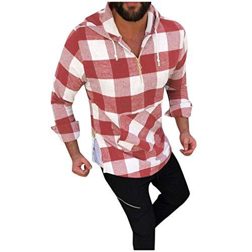 KaloryWee 2019 Herbst Winter Herren Karierter Hoodie Sweatshirt Kapuzenpullover Basic Outwear Kragen Reißverschluss unten Bauchtasche
