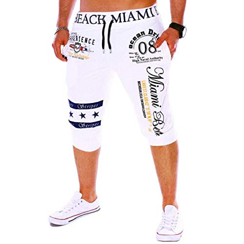 Pantalones Cortos Hombre Verano 2019 Nuevo SHOBDW Casual Impresión de Letras Pantalones Hombre Chandal Cordón Elástico Pantalones Cortos Hombre Deporte con Bolsillos Tallas Grandes(Blanco,M)
