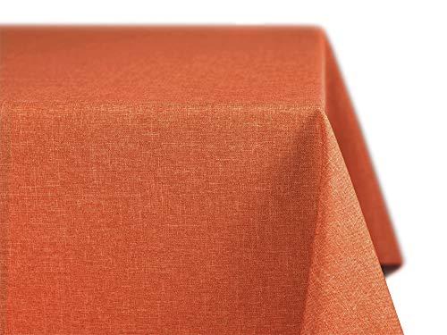 BEAUTEX fleckenabweisende und bügelfreie Tischdecke - Tischtuch mit Lotuseffekt - Tischwäsche in Leinenoptik - Größe und Farbe wählbar, Eckig 110x140 cm, Terracotta