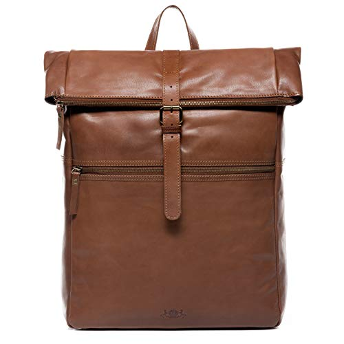 "SID & VAIN Rucksack echt Leder LEVI Zip XXL groß Kurierrucksack Fahrradrucksack 15,4 Zoll Laptop Backpack Tagesrucksack Laptopfach 15\"" + DIN A4 Ordner Lederrucksack Herren braun"