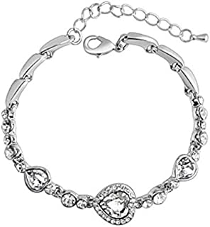 Swarovski Elements 18K White Gold Plated Bracelet encrusted with White Swarovski Crystals, SWR-334