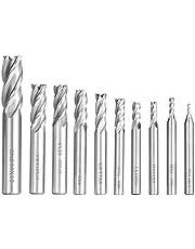 PAIRIER 10pcs 4-Flauta Fresa Perforadoras Fresa de Punta 2-12 mm CNC Fresa de Mango Recto Brocas de Corte Juego para Titanio Acero Aluminio