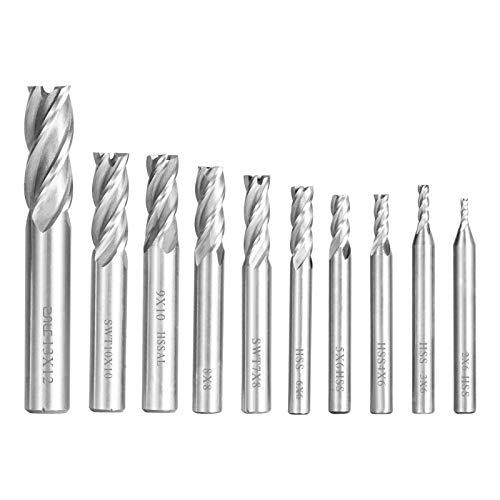PAIRIER Zylinderschaft Schaftfräser 4 Rillen 2-12 mm Bohraufsätze Cutter Metall Fräser Bohrer Sets 10 stücke für Aluminium Stahl Titan Holz