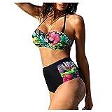 TUDUZ Bikinis Mujer Conjunto Tanga Ropa Interior Sujetador Cintura Alta Push-Up Traje De Baño Acolchado