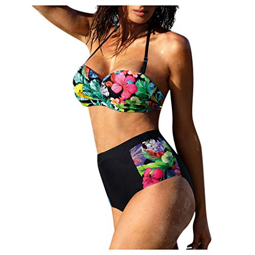 IHEHUA Bikini Set Damen Bademode Zweiteilige Badeanzüge Neckholder Bandeau High Waist Bikinihose Strappy Sexy Geblümt Oberteil Swimwear Beachwear Swimsuit(A-Schwarz,S)
