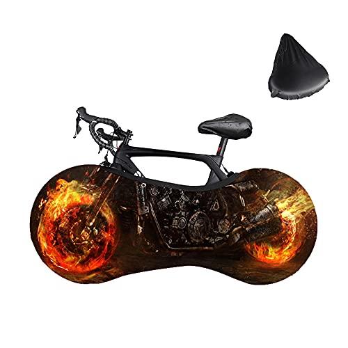 Komake Funda para Bicicleta, Rueda de Fuego Funda para Rueda de Bicicleta Antipolvo Funda de Protección Antipolvo con Funda Impermeable para Asiento de Bicicleta Funda Protectora